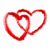 Dos corazones rojos Elemento del diseño del vector Fotos de archivo
