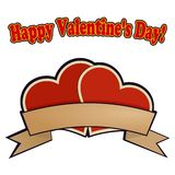 Dos corazones rojos para el día de tarjeta del día de San Valentín Fotos de archivo libres de regalías