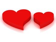 Dos corazones rojos que baten en ritmo Foto de archivo