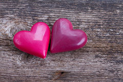 Dos corazones rosados Imagen de archivo