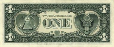 Corazones del dólar Foto de archivo libre de regalías