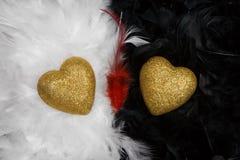Dos corazones sobre el backgroun blanco y negro de las plumas Foto de archivo libre de regalías