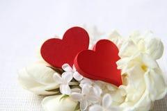 Dos corazones Te amo Rosas blancas Imagen de archivo libre de regalías