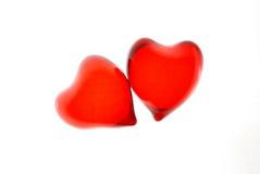 Dos corazones transparentes rojos Foto de archivo libre de regalías