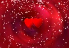 Dos corazones y escamas de la nieve Foto de archivo libre de regalías