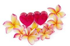 Dos corazones y flores rojos del frangipani Fotos de archivo