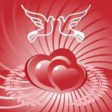 Dos corazones y palomas Foto de archivo libre de regalías