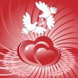 Dos corazones y palomas del blanco Fotos de archivo