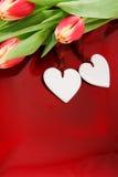 Dos corazones y tulipanes Imagenes de archivo