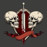 Dos cráneos con el tatuaje stock de ilustración
