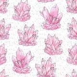 Dos cristais cor-de-rosa do conjunto da aquarela e da tinta teste padrão sem emenda pintado à mão no fundo estrelado branco ilustração royalty free