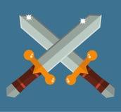 Dos cruzaron las espadas de Asia con el ejemplo plano del vector del samurai de las manijas del oro de la historieta tradicional  Foto de archivo libre de regalías