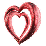 Dos cruzaron los corazones rojos con descenso del agua aislados en blanco Foto de archivo libre de regalías