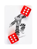Dos cubos que juegan rojos que mienten en una tarjeta fotografía de archivo
