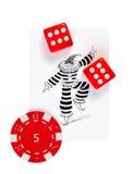 Dos cubos que juegan rojos y el contador rojo, o de mentira foto de archivo libre de regalías