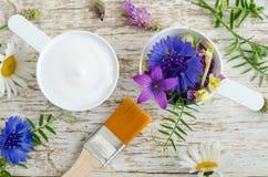 Dos cucharadas plásticas con las diversas flores salvajes y máscara poner crema facial con los extractos herbarios Ingredientes d Foto de archivo libre de regalías
