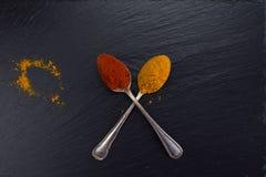 Dos cucharas del vintage con las especias curry y paprika en fondo negro foto de archivo libre de regalías