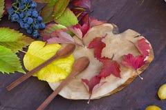 Dos cucharas y hojas de madera del rojo Fotos de archivo