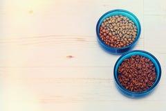 Dos cuencos en el piso con la comida de animales domésticos Imagen de archivo