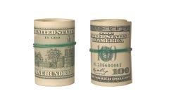 Dos dólares americanos de torceduras aisladas en blanco Fotografía de archivo libre de regalías