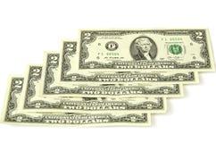 Dos dólares Cinco denominaciones junto Imagen de archivo