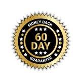 Dos d'argent en médaille d'or d'insigne de garantie de 60 jours d'isolement illustration stock