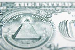 Dos de billet d'un dollar Photographie stock