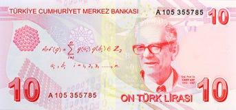 Dos de billet de banque de 10 Lires photographie stock