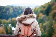 Dos de fille dans la forêt d'automne Photos stock