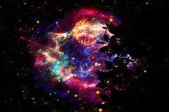 Dos de galaxie sur l'arbre sec de silhouette de ciel de coucher du soleil de nuage de nuit images stock