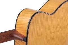 Dos de guitare sur un fond blanc images stock