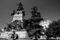 SEGOVIA, SPAIN - JULY 24, 2018: The Heroes of the Second of May memorial. The Dos de Mayo or Second of May Uprising of 1808 was a rebellion by the people of stock photo