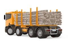 Dos de notation chargé lourd de camion de bois de construction Photographie stock