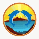 Dos delfínes, un beso en el fondo del mar, montañas y libre illustration