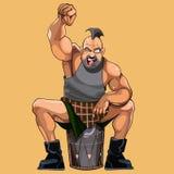 Dos desenhos animados do homem elogios musculares felizmente Fotos de Stock