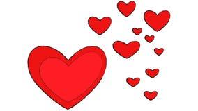 Dos desenhos animados vermelhos dos corações do amante dos desenhos animados do projeto do coração do amor do fundo do casamento  ilustração stock