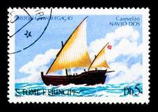 DOS di Navio della caravella, serie delle navi di navigazione, circa 1979 Fotografie Stock