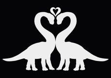 Dos dinosaurios junto y corazón, siluetas en un backgro negro stock de ilustración