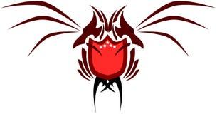 Dos dirigieron el dragón con el escudo Imagen de archivo libre de regalías