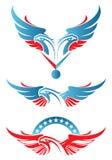 Dos dirigieron la mascota del deporte del águila stock de ilustración