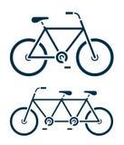 Dos diversos iconos de la bicicleta, uno una bici en tándem Imagenes de archivo