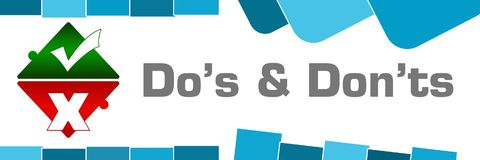 Dos And Donts Blue Abstract-Vormen stock illustratie