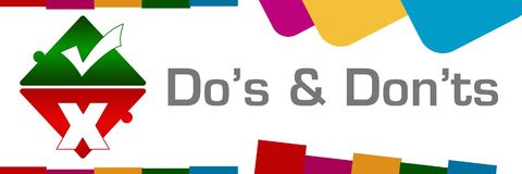 Dos And Donts Colorful Abstract forma horizontal Stock de ilustración