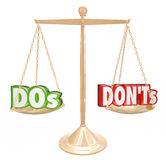 Dos and Donts Words Gold Scale Good Bad Advice Stock Photography