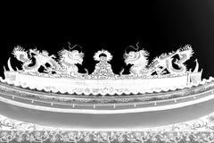 Dos dragones blancos y negros abstractos Foto de archivo libre de regalías