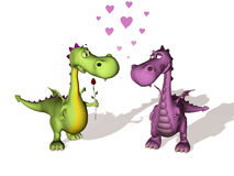Dos dragones en amor Stock de ilustración