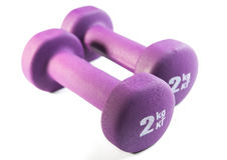 dos dumbells púrpuras Fotografía de archivo libre de regalías