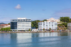 Dos edificios azules en St Lucia Harbor Foto de archivo