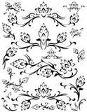 Dos elementos florais da folha da flor silhueta abstrata Imagem de Stock