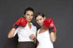 Dos empresarias con los guantes de boxeo Imágenes de archivo libres de regalías